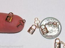 Lock & Key set charm 3d backs 2pc Miniature dollhouse tiny little Gold plated