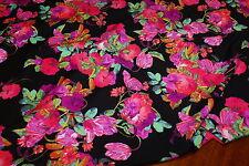 2.5m x 1.6m - 'PALM COVE' FLORAL Print Lycra Fabric - Swimwear, Maxi Dresses