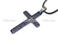 Stainless Steel Cross Pendant Necklace Jewelry Royal Blue Spanish Bible