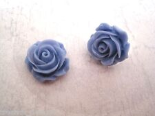 *POWDER BLUE OPEN ROSE* Medium LUCITE STUD SP Earrings Rockabilly Gothic NEW