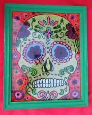 Mexican Outside Folk Art Day Of The Dead Sparkling Skull Reverse Glass Painting