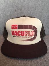 Vtg HP Vacuflo Vacuum System Brown Trucker Hat Mesh Snap Back 80's Cleaning