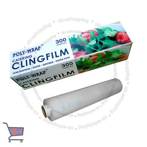 KITCHEN CATERING CLING WITH CUTTER FILM FOOD STORAGE WRAPPING 300mm x 300m