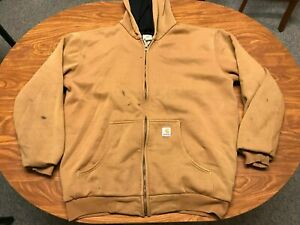 MENS USED CARHARTT BROWN THERMAL LINED ZIP HEAVY DUTY HOODIE JACKET LARGE TALL
