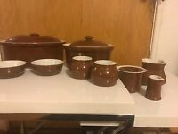 HUGE VINTAGE HALL POTTERY 12 PIECE BROWN SET CASSEROLE DISHES CADDIES SMALL BOWL