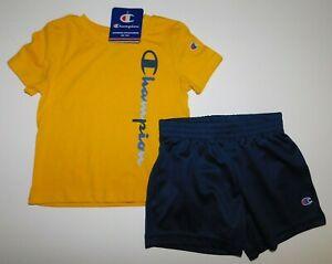 NWT Champion Baby Toddler Boy 2Pc Set Gold Logo T-Shirt/Mesh Shorts 24M New