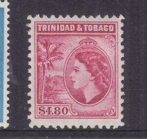 TRINIDAD, 1955 QE,  perf. 11 1/2, $ 4.80 Cerise, heavy hinged.