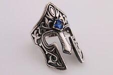 Turkish Jewelry Knight Helmet Sapphire 925 Sterling Silver Men's Ring Size 8