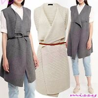 NEW Womens Ladies Loose Long WATERFALL DRAPE OPEN CARDIGAN Shirt Top Jumper BELT