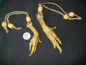 TWO  Dry Chicken Witch Foot Strung Wood Beads Voodoo Haiti Louisiana Spell