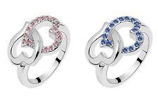 Women's/Girl's: Silver/White Gold Effect 'Locked Heart' Cubic Zirconia Ring