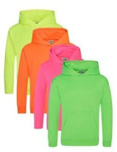 Enfants Brillant Électrique Orange Jaune Vert Rose Capuche Sweat