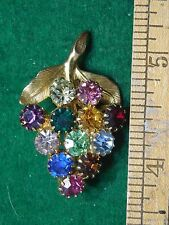 1940s-50s Fabulous Multi-Colored Rhinestone Grapes Fruit Pin Lovely Excellent