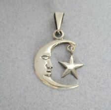 Crescent MOON Face & Dangling STAR Astrology Mexican 925 Sterling Silver Pendant