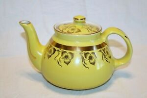 """Hall Made in U.S.A. 039 Gold Trim Flowers Yellow Canary 4 Cup 4 1/2""""h Teapot"""