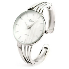 Silver String Style Band Luxury Women's Bangle Cuff Watch