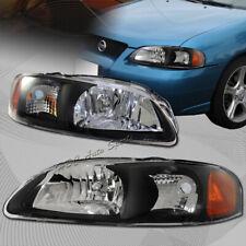 For 2000-2003 Nissan Sentra 1 Piece Black Housing Headlights W / Amber Reflector