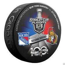 OTTAWA SENATORS vs NEW YORK RANGERS 2017 Playoff NHL 100th Ann DUELING LOGO PUCK