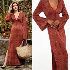 STUNNING ZARA RED/ORANGE SHINY JACQUARD KNIT LONG DRESS SIZE S UK 8 10