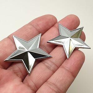 2x Star Chrome Car Body Badge Metal Sticker Emblem Window Bonnet Boot