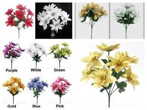 Artificial 7 head 32cm xmas poinsettia bunches/bushes various colours freepost