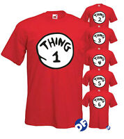 Dr Seuss Cat in the Hat TShirts Thing 1 – Thing 10 World Book Day Adults & Kids