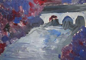 Original vintage gouache painting expressionist river landscape