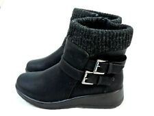 LADIES WOMENS BLACK ANKLE BOOTS LOW WEDGE SIDE ZIP KNITTED TOP  WARM LINED BOOTS