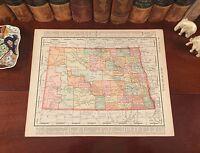 Large Original 1899 Antique Map NORTH DAKOTA Lakota Hoopie Minot Mandan Bismarck