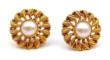 20K AUTHENTIC GOLD EARRING PAIR PEARL YELLOW GOLD EARRING LEAF PATTERN ANTIQUE