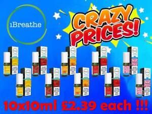 10x iBreathe Liquid 10x10ml 6mg 12mg 18mg All Premium Flavours Vape Juice Oil