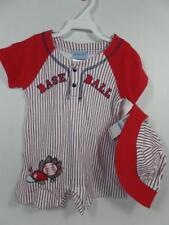 New Little by Little Boy's BASEBALL Romper & Hat Set,  Sz 6-9 Months