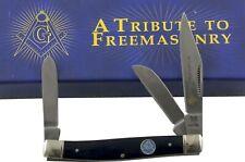 Rough Rider Masonic Blue Smooth Bone Handles Stockman Pocket Knife RR1764