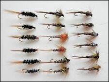 Nymph Trout Fishing flies, 18 Pack, Crunchers, Pheasant Tails & Diawl Back, Mixe