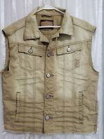 Arizona Jeans Co Distressed Destroyed Denim Vest Sz M L Sleeveless Beige Mens