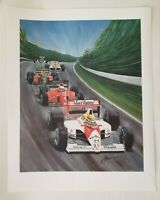 "Formula One Auto Motorsport Car Art Print by Artist Bill Patterson 24"" x 19"""