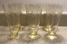 #376 ~ Vintage Etched Yellow Glass Crystal Pilsner Drinking Glasses Beer Water