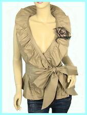 Khaki Flounce Ruffles Collar Belt Sleeveless Wrap Cardigan Shirt Blouse Top S