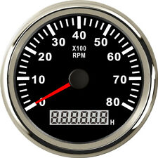 85mm33 Black Tachometer 8000rpm Stainless For Diesel Gasoline Engine Us Stock