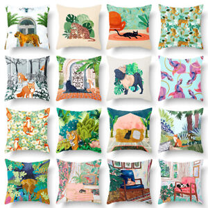 Cartoon Print Cushion Cover Decorative Tiger Cat Pattern Throw Pillow Cover