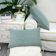 2PCS Rectangle Pillows Cushions Throws Cover Corduroy Stripes 30cmX50cm Teal