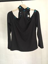 Cristobal Paris Black Cold Shoulder Top w/ Black & Blue Beading High Neck Sz 14