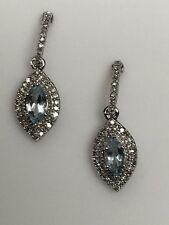 10K White Gold Marquise Shape Aquamarine and Diamond Pave Dangle Earrings