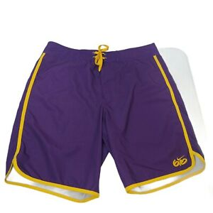 Nike 6.0 LA Lakers Men's 33 Board Swim Shorts Stretch Purple Yellow Pocket Sport