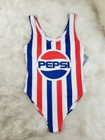 PEPSI Womens One Piece Swimsuit Red White Blue Vertical Stripes Size Medium NWT