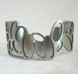 VINTAGE Aluminum CHRISTOPHE POLY Artisan-Modernist-Art Deco-Signed Cuff BRACELET