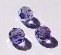 Swarovski round Austrian crystal beads faceted Tanzanite AB 4mm 6mm