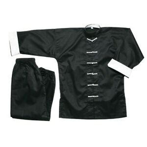 New Kung Fu Uniform Tai Chi Uniform-Black w/ White Knot Cord Frogs buttons