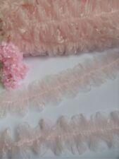 "2-1/4"" Light Pink Ruffle Pleated Organza  Lace Trims-1 Yard-T376K"