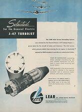 1952 Lear Aviation Ad General Electric J-47 Turbojet Jet Engine Aircraft
